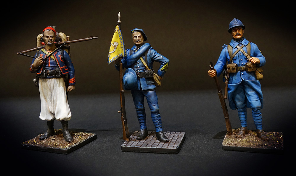 Soldat de plomb - Figurine de collection- boutique au plat d'étain - Paris - Zouave 1914 (France), Caporal de chasseurs alpins 1915 (France) et Infanterie de ligne 1915 (France)